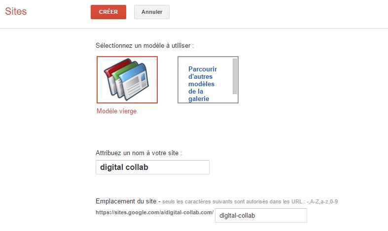 Démarrer un Google Sites